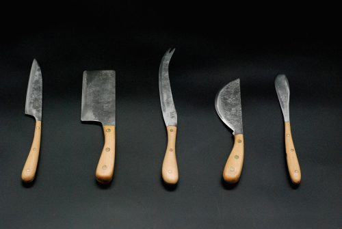 Cheese knife set 5 pieces,  beech wooden handle
