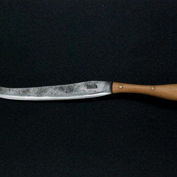 Cheese knife with fork tip. 100 mm, beech wooden handle