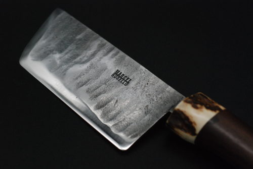 Cheese cleaver, deer horn and walnut handle